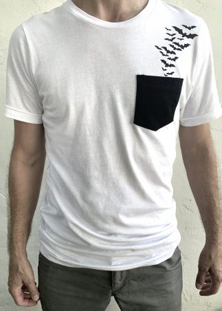 Bats Black Pocket On White Tee