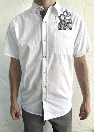 Tentacles Black Microdot on White Short Sleeve Button-up Shirt