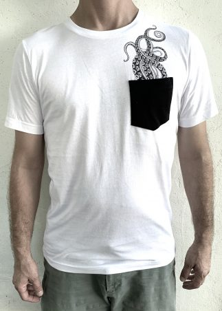 Tentacles Black Pocket On White Tee
