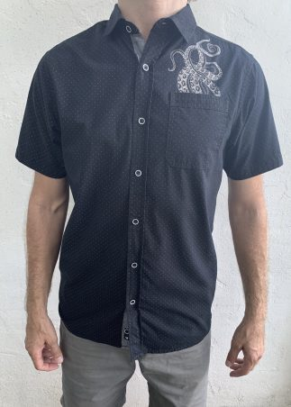 Tentacles White Microdot on Black Short Sleeve Button-up Shirt